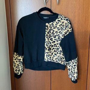 SHEIN crop leopard print sweater